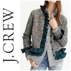 J Crew collection cardigan with plaid ruffle trim